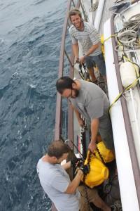 Odyssey & Scripps crew retrieving HARPS